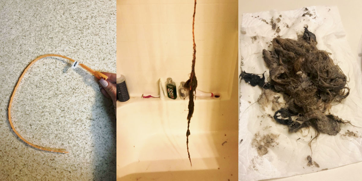Reviewer photo showing hair removed from drain using drain snake