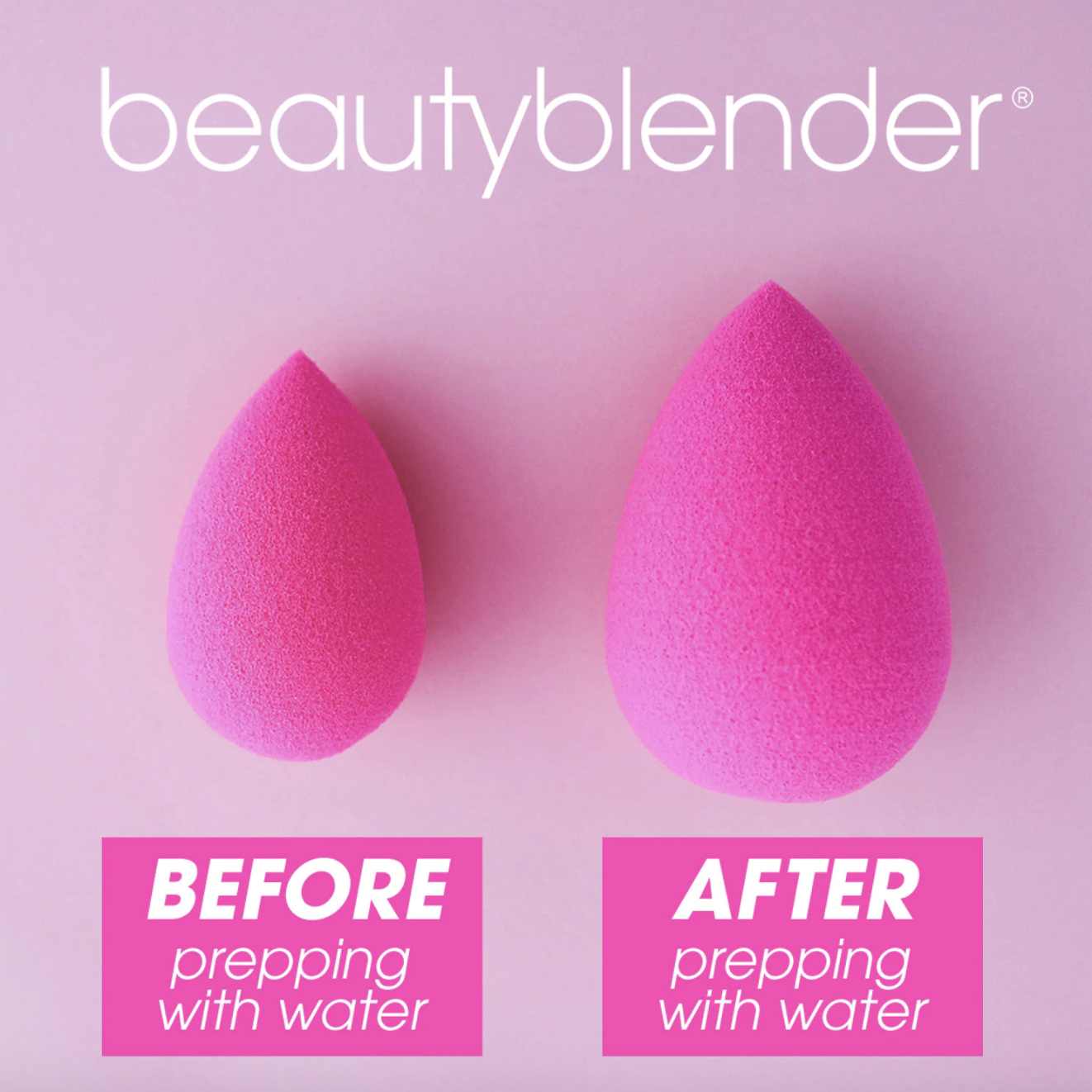 pink beautyblender without water on the left and with water on the right