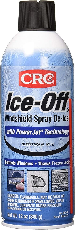 White and blue spray bottle of de-icer