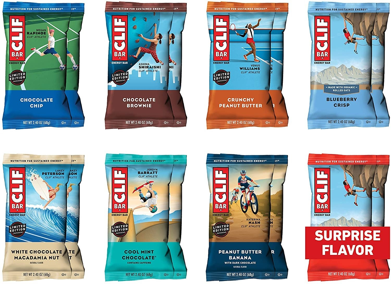 Eight different colors and flavors of Cliff bars