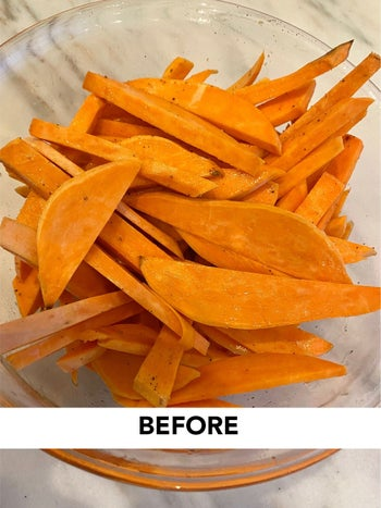 Before photo of sweet potato fries
