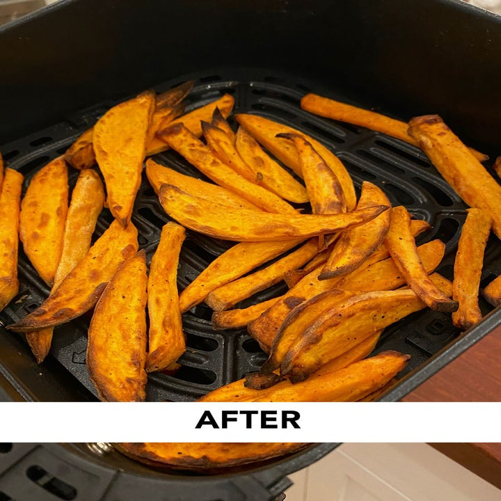 After photo of the same fries, which are crispy and browned in the air fryer