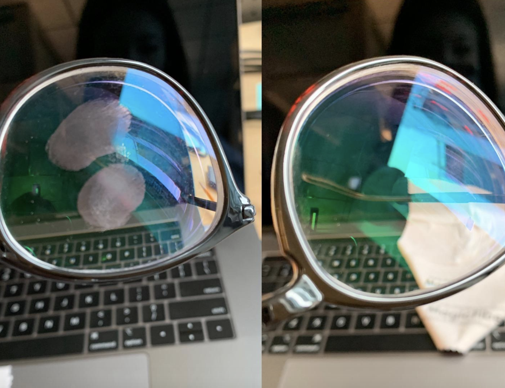 reviewer before and after photo of glasses with smudges and the same glasses with no smudges