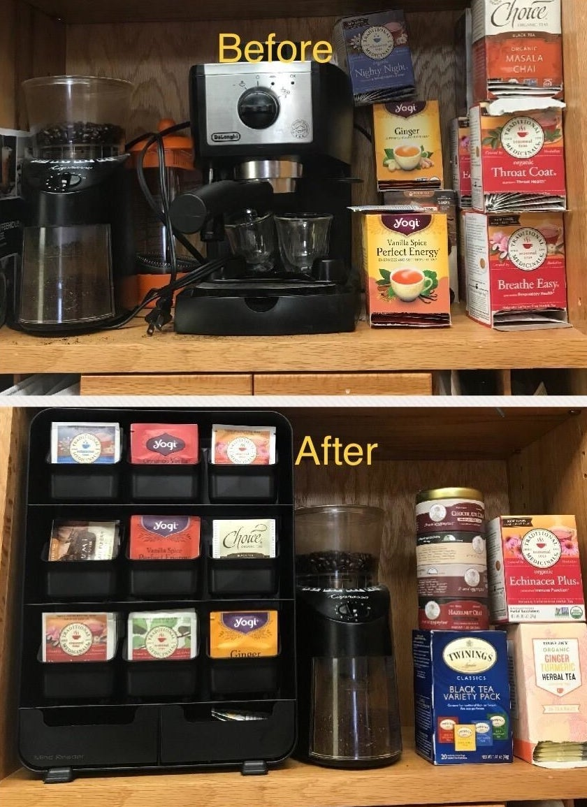 a photo set displaying the inside of a kitchen cabinet before and after having the tea bag organizer installed