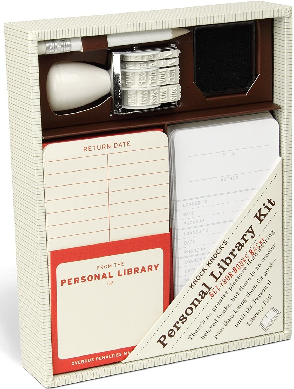 A personal library kit with a stamp with dates, ink, and paper with return dates
