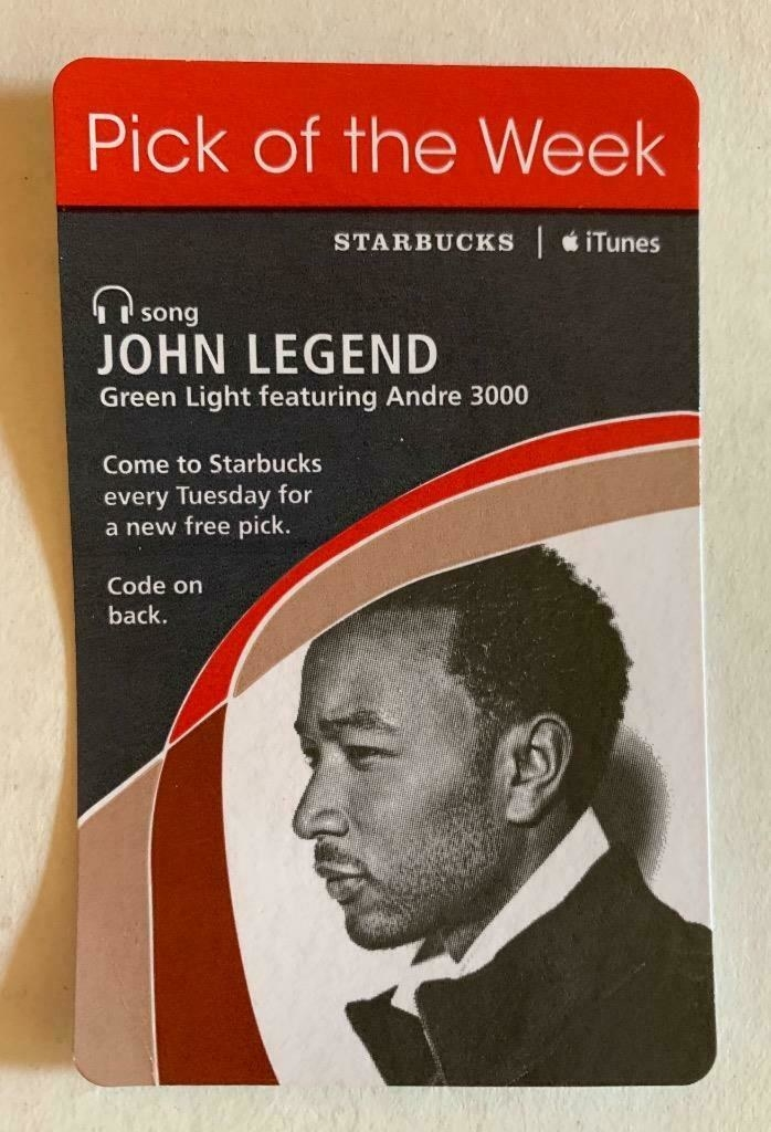 "A Starbucks ""Pick of the Week"" card for John Legend's ""Green Light"" feat. André 3000/"