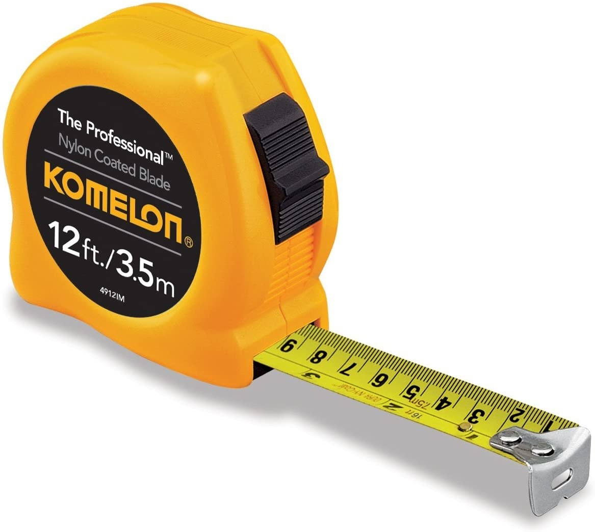 A tape measure with an extended portion showing the actual tape measurements