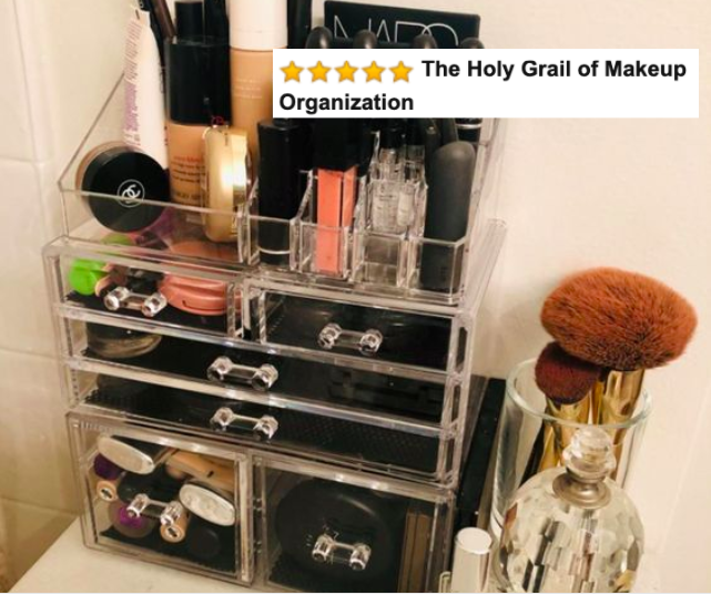 The clear cosmetic organizer filled with makeup