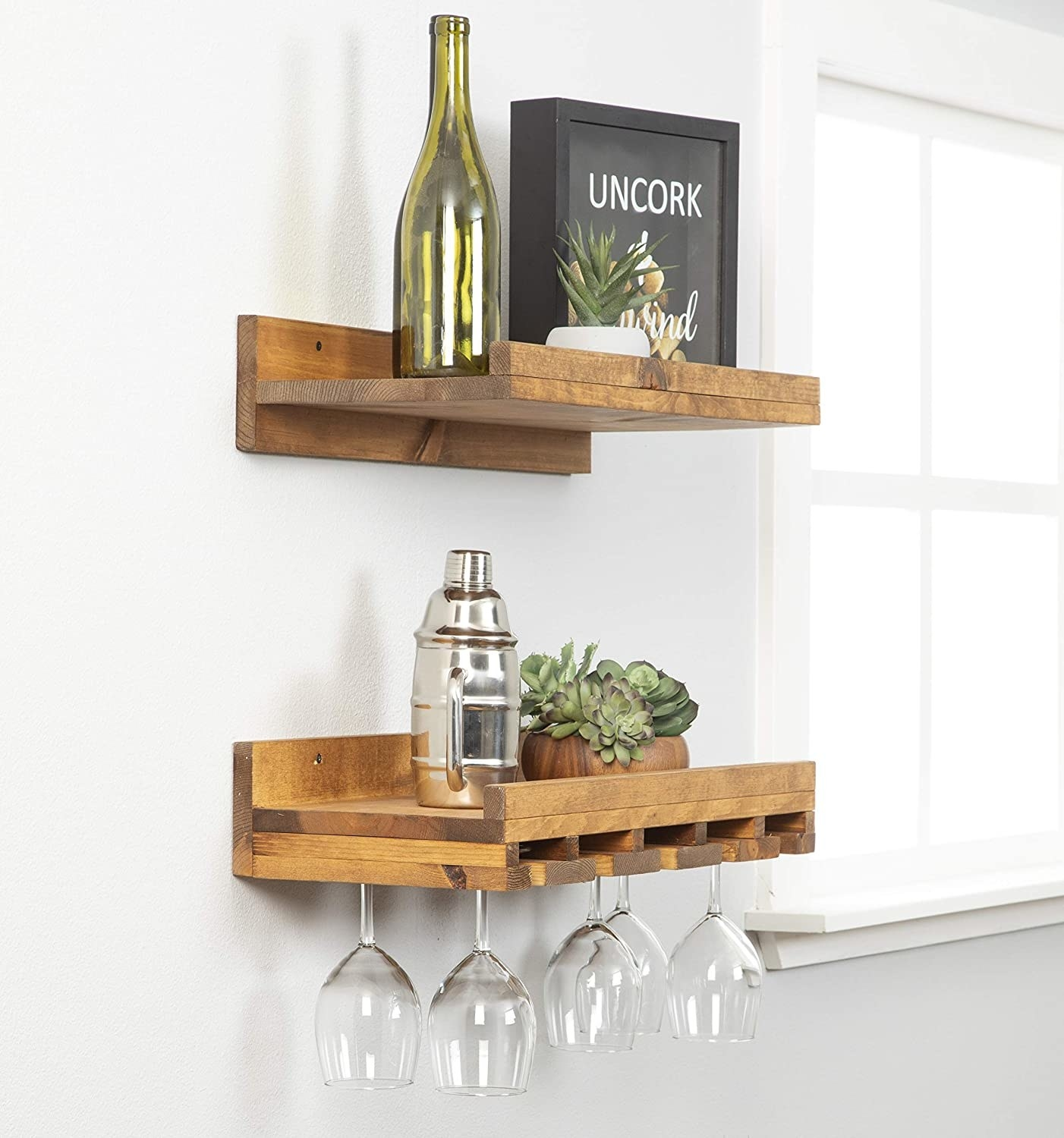 Two rough-edged wood shelves: one standard, lipped shelf and one with added panels to hold up to six wine glasses