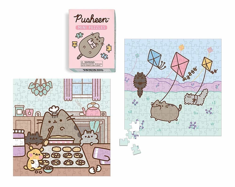 The two puzzles shown next to the box. One shows Pusheen and friends baking, while the other has them flying kites
