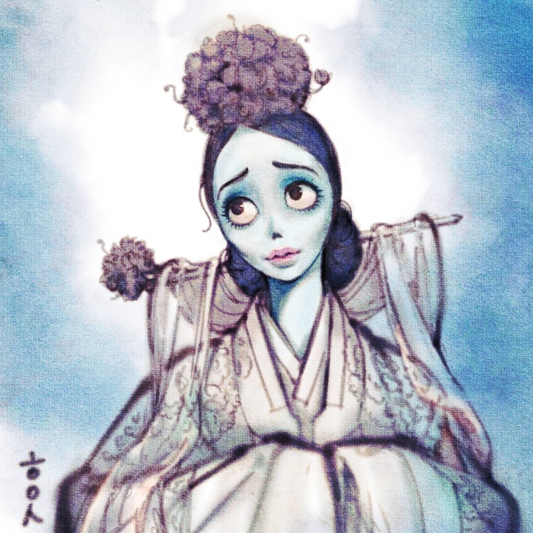 "Emily from Tim Burton's ""Corpse Bride"" wearing a white hanbok"