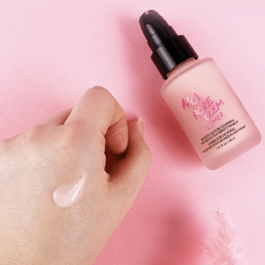 A hand swatch the silky texture of the primer