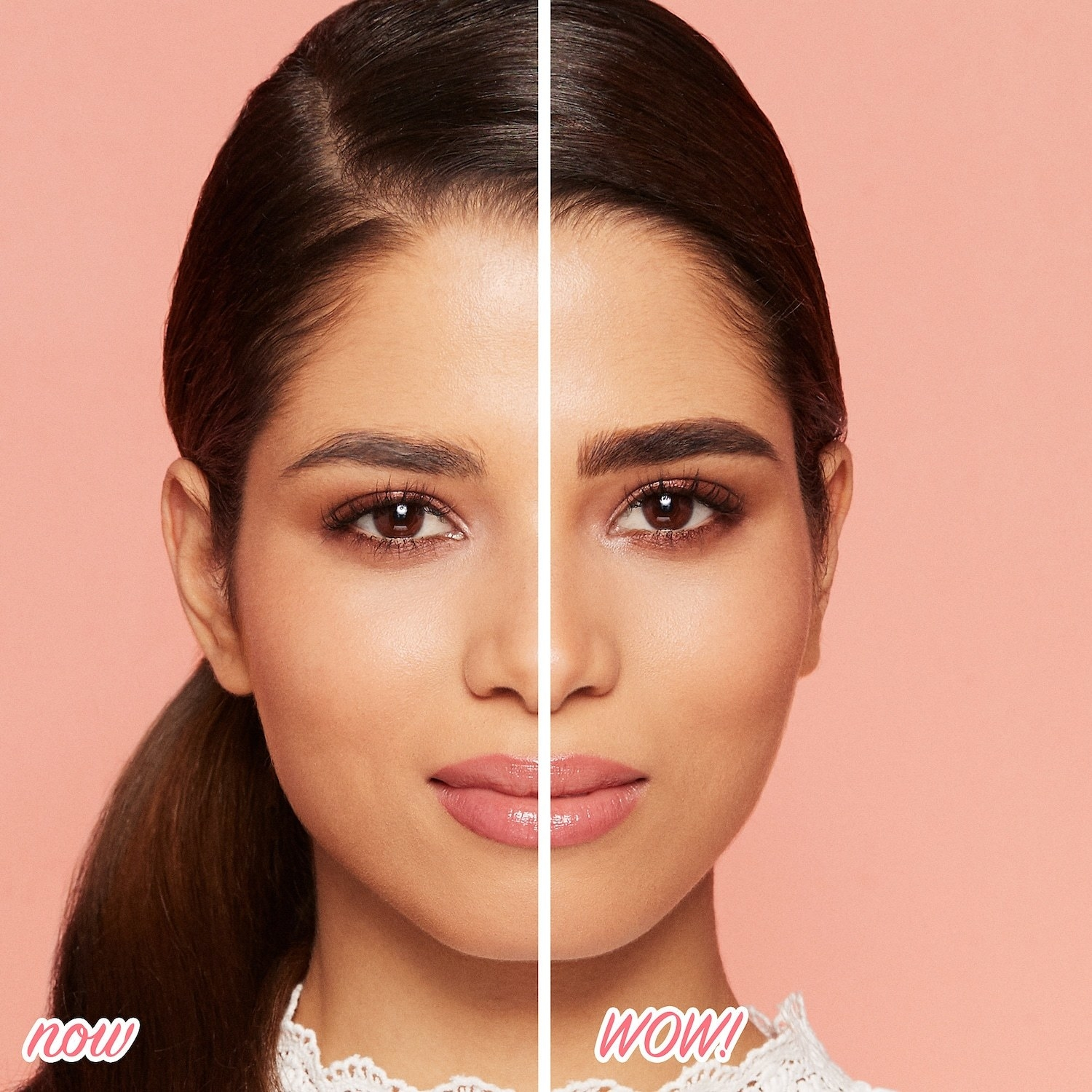 Model showing before and after of brows with the product, with the product-less brow light and wispy and the brow with the product thick and dark