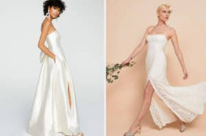 to the left: a model wearing a strapless satin ball gown with her hands in her pockets, to the right: a model wearing a thin strapped lace gown with a corset top