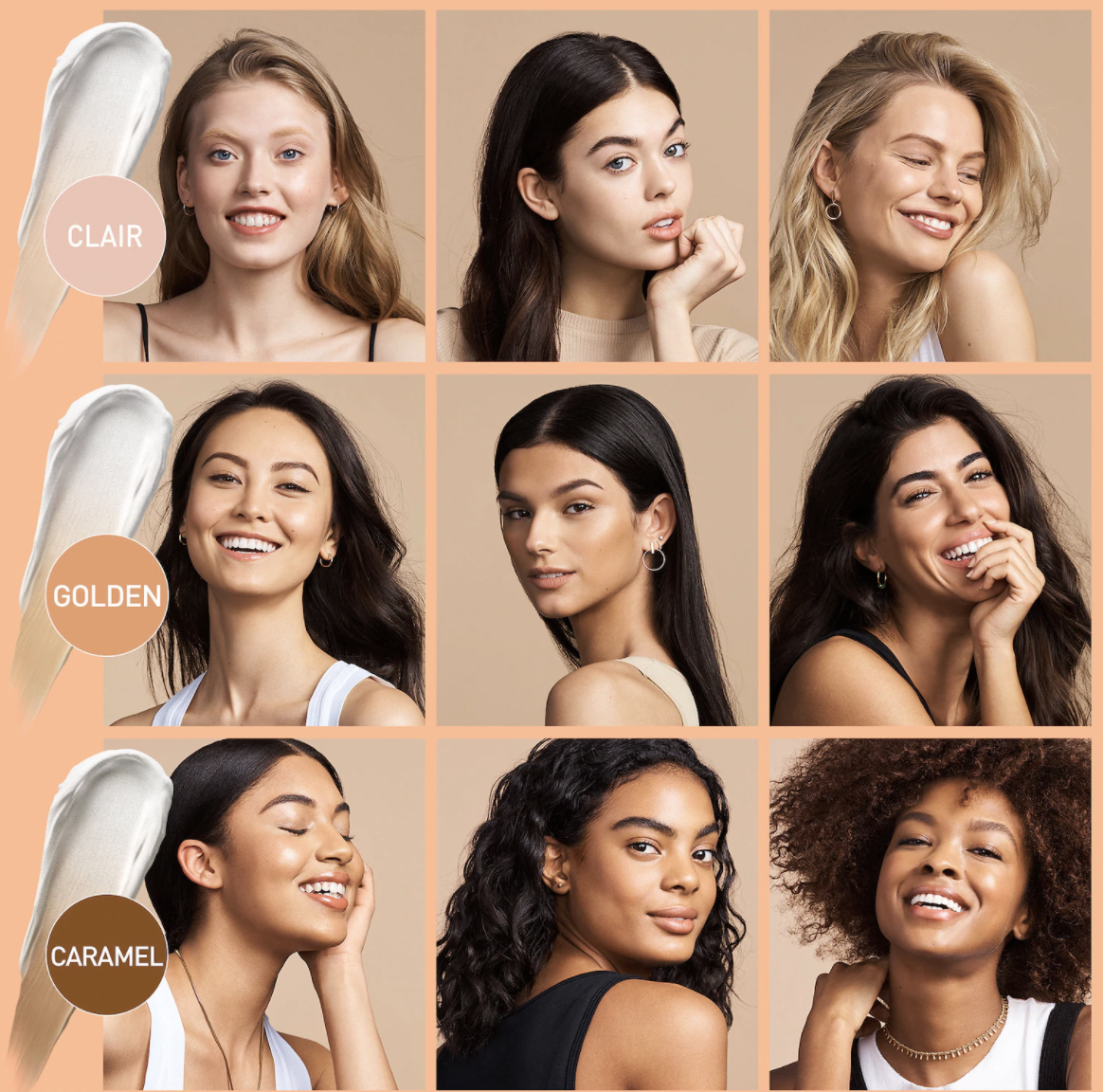A range of models wearing the cream to show that it fits many skin tones and provides smooth glowy skin
