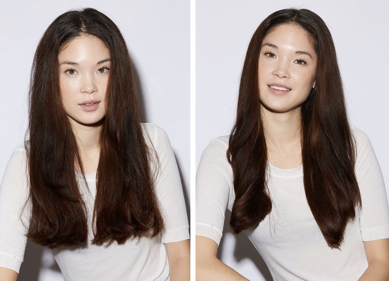 Before of a model with frizzy long hair and then an after of the same model with sleek, frizz-free hair after using the product