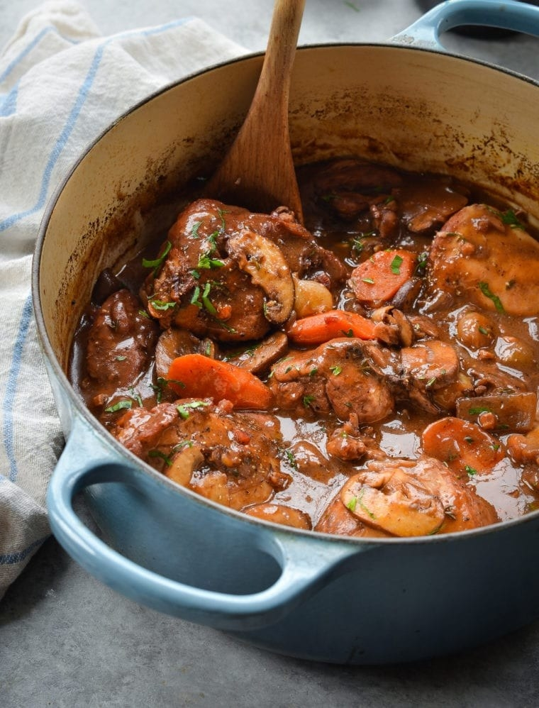 the coq au vin in a pot