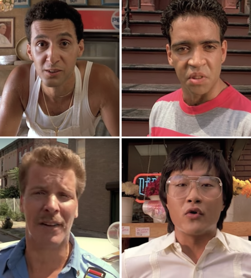 Four characters of different races talking to the camera in the movie