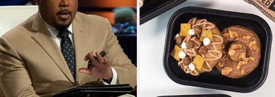On the left, Daymond John from Shark Tank, on the right, protein doughnuts with toppings like cereal and glaze