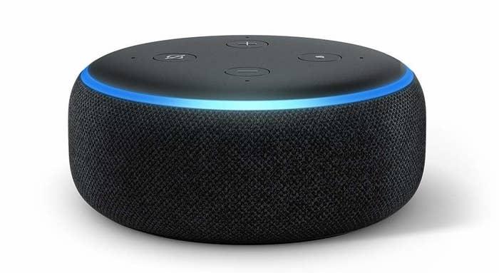 A black Amazon Echo Dot