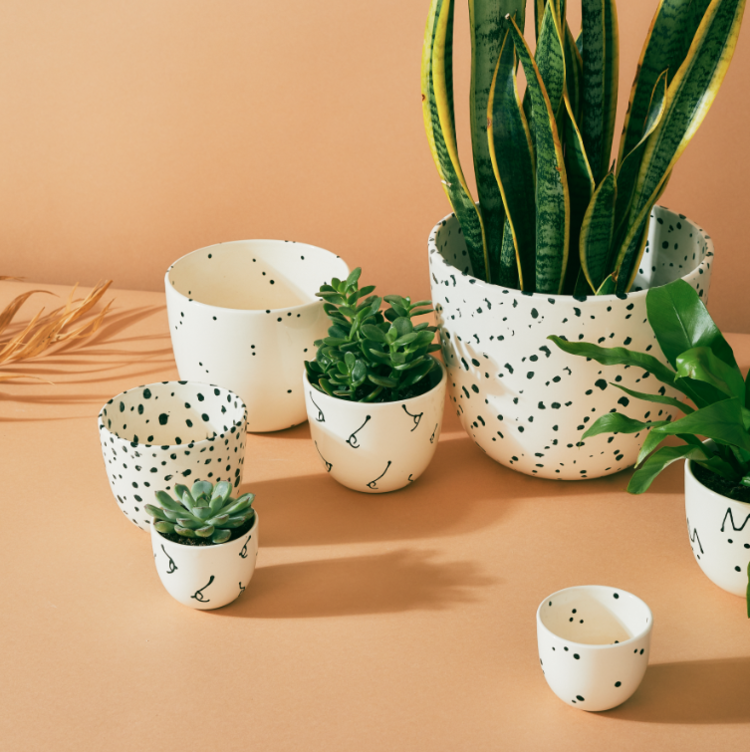 a collection of white pots with black patterns like dogs, polka dots, and boobs in different sizes