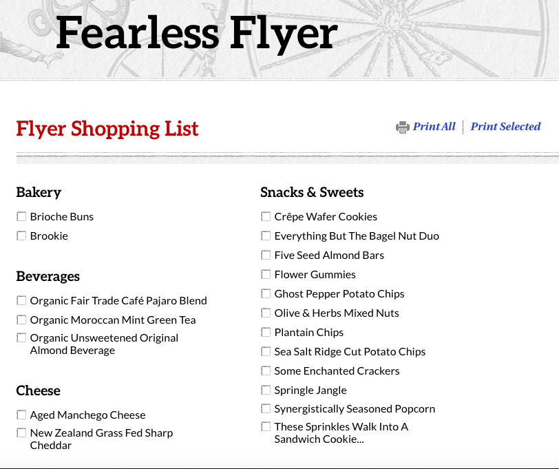 A Trader Joe's Fearless Flyer check-list of groceries.
