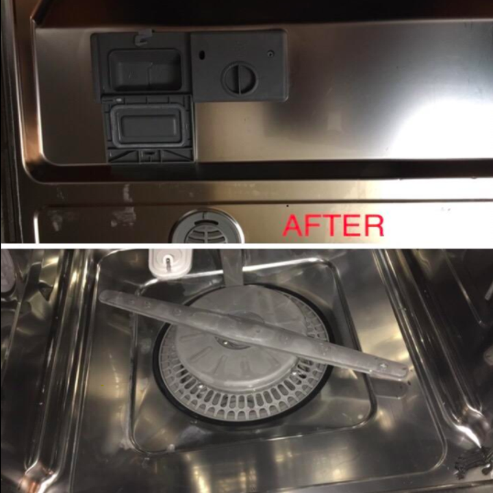 The same spots on the dishwasher looking much shinier, with the majority of the residue gone
