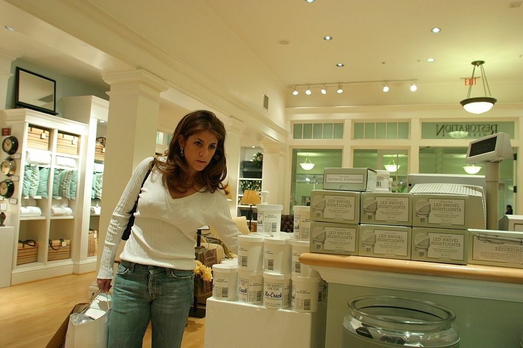 Woman shopping in a Restoration Hardware