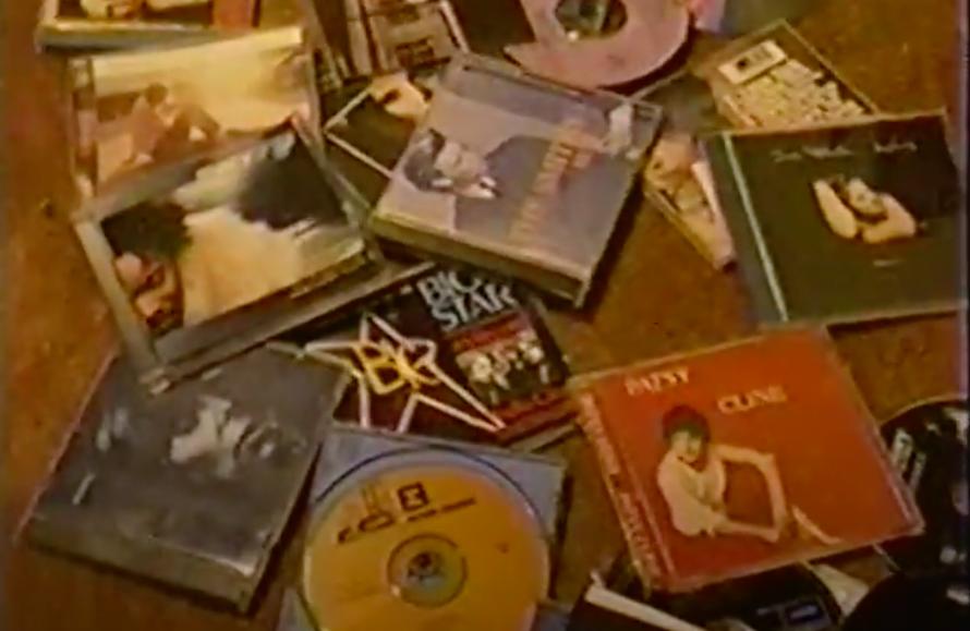 CDs scattered on floor