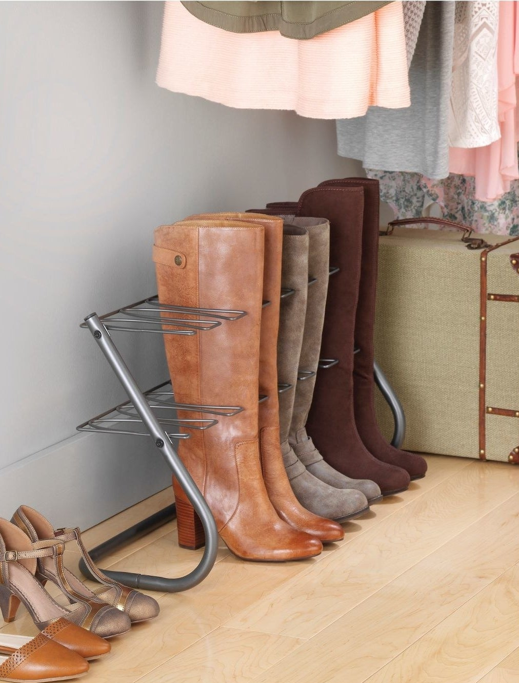 The boot rack in a gunmetal finish