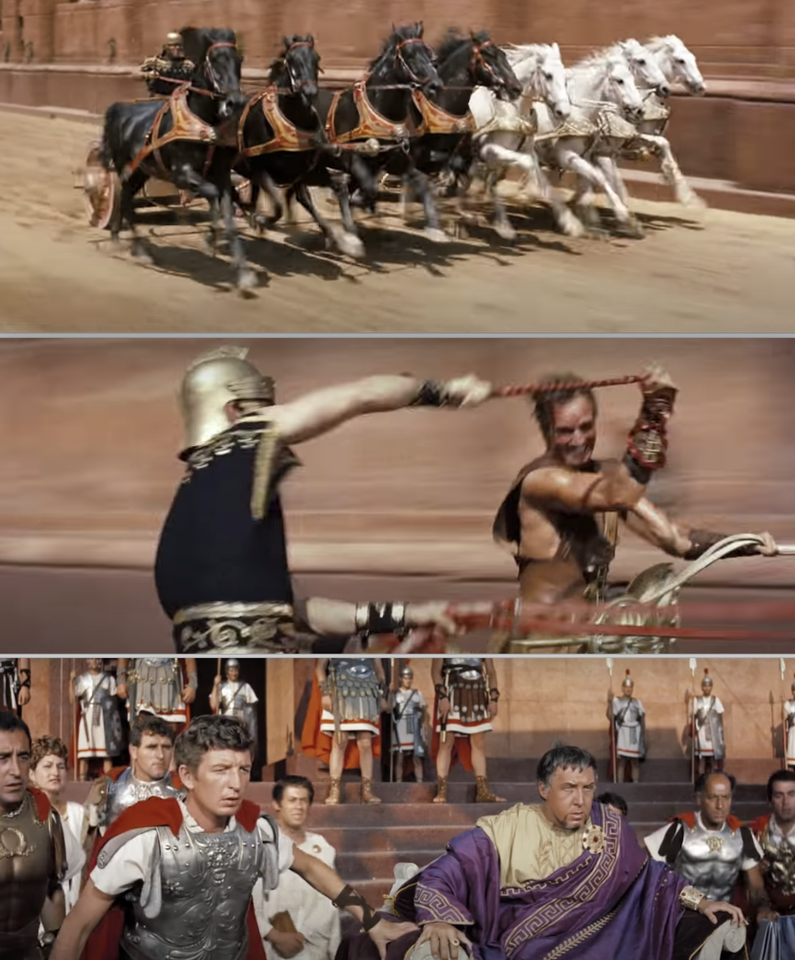 "The iconic chariot race from ""Ben-Hur"""