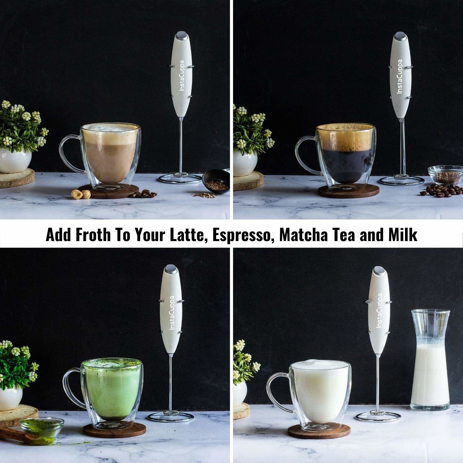 The frother used to make coffees, matcha, and foamy milk
