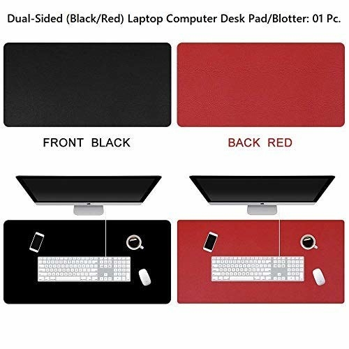 A waterproof desk pad with one side in black and the other side in red. There's a monitor, keyboard, mouse, smartphone, and a cup of coffee on it.
