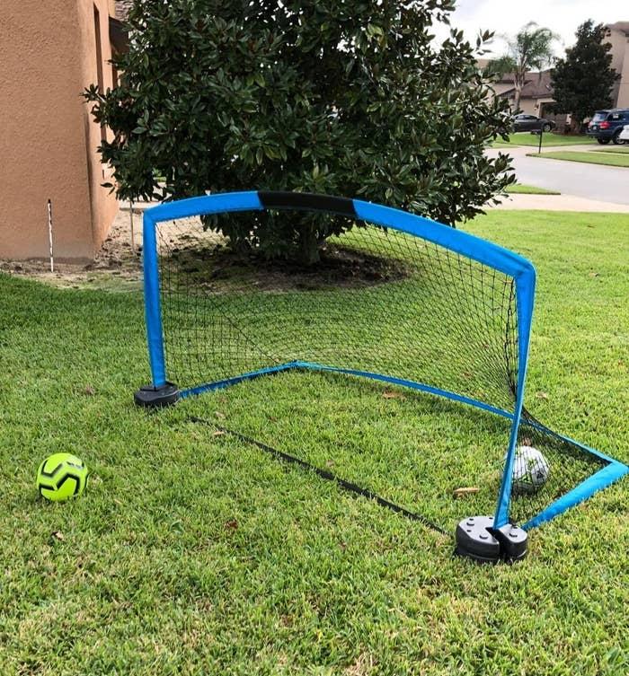 small soccer net in yard