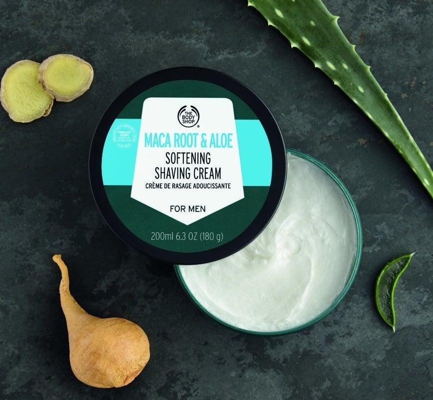 an open jar of the shaving cream