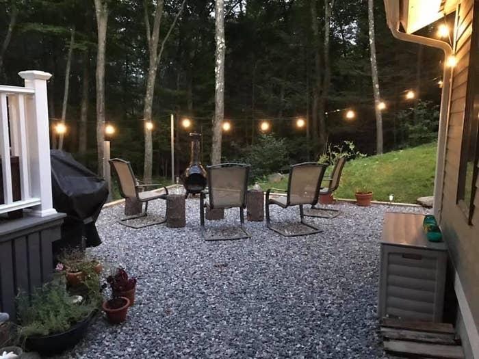 backyard patio with stringlights