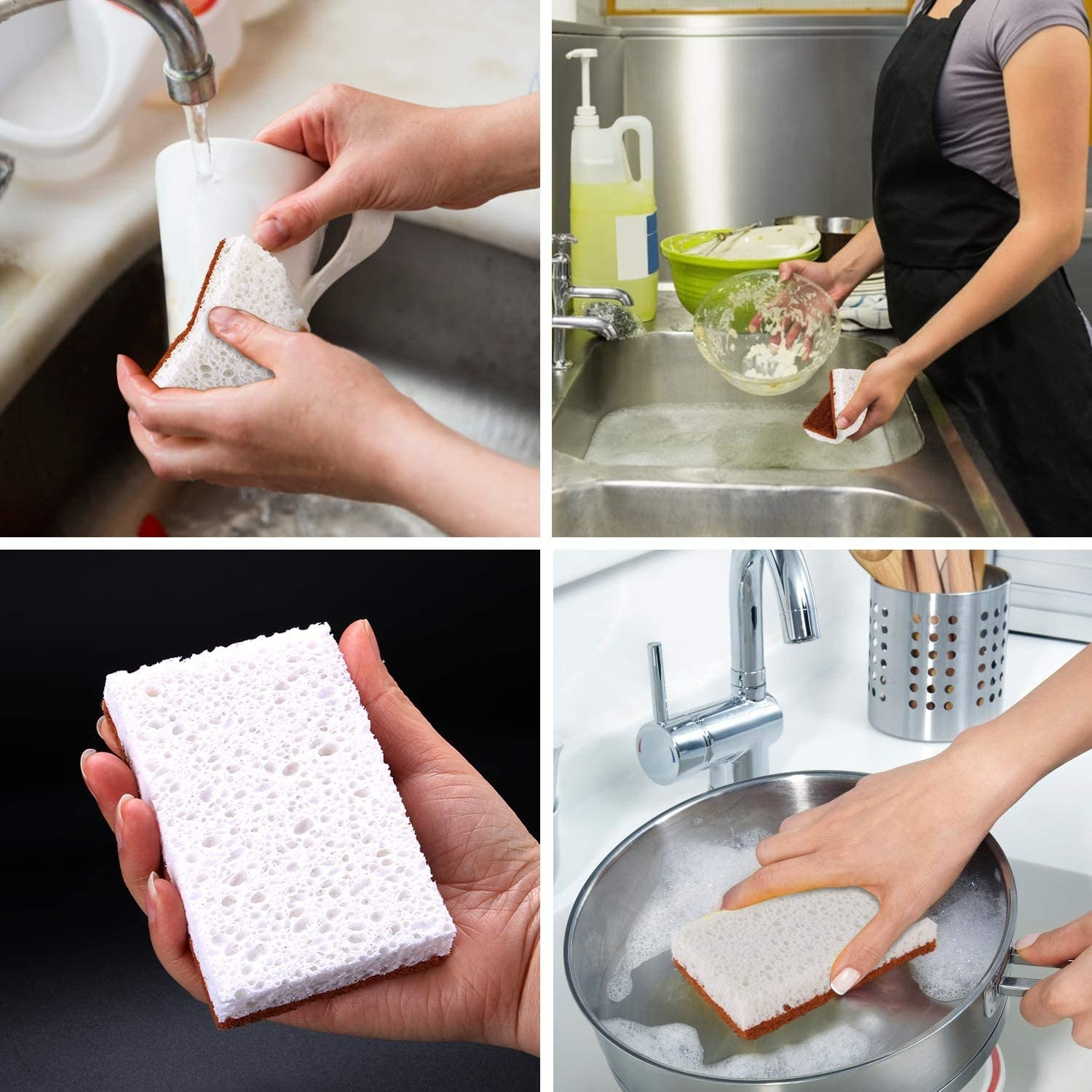 A person using the sponge on a mug, a dirty bowl, a pot, and holding it up to show the porousness of it