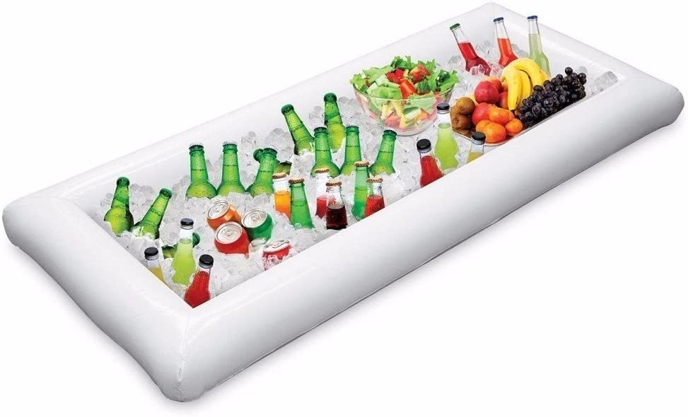 An inflatable cooler filed with ice, drinks, and snacks