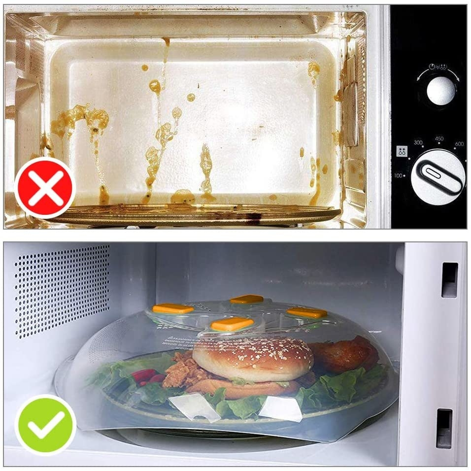 A dirty microwave vs a clean one when you use the cover