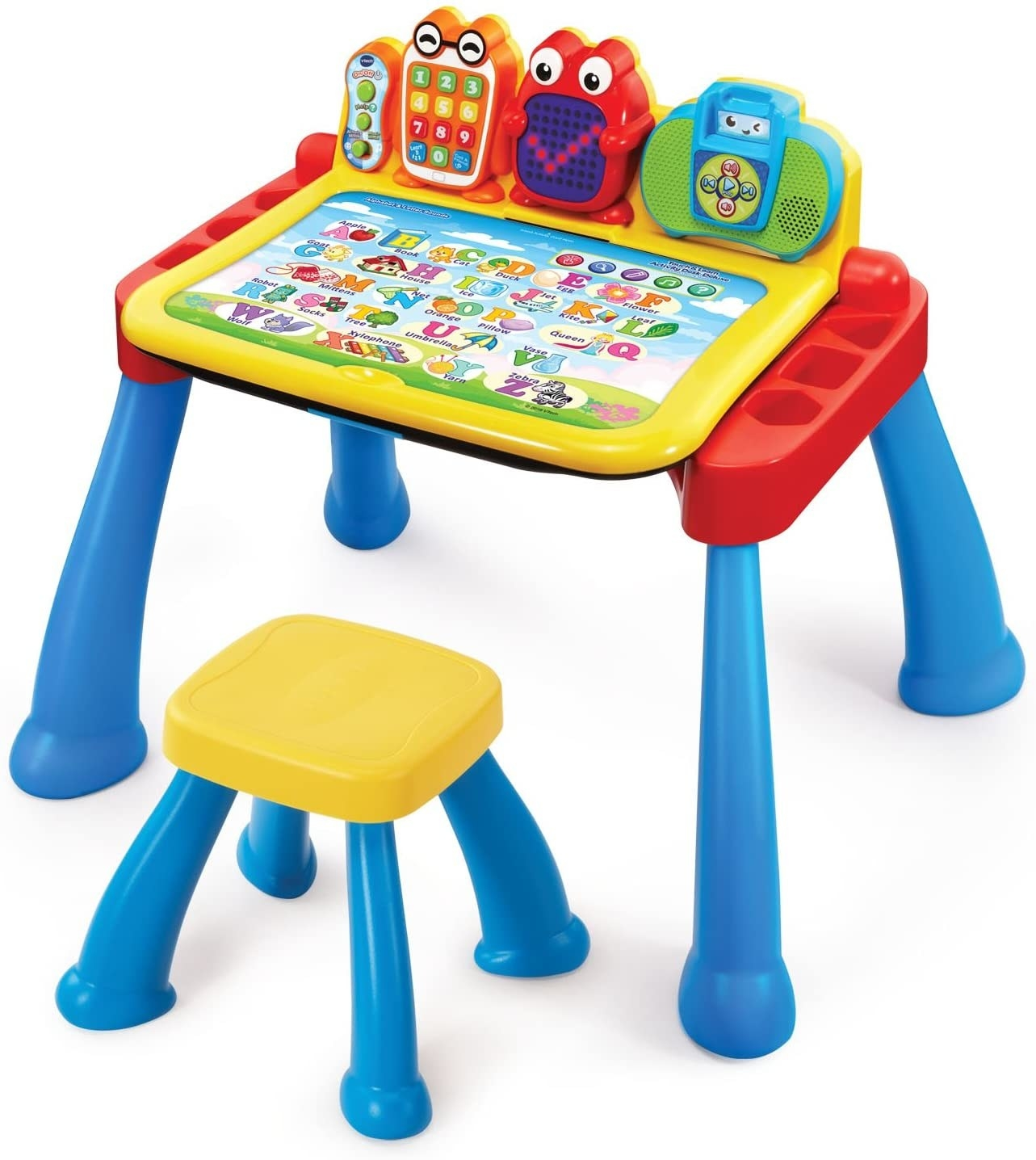 A plastic  red, blue, and yellow chair and activity desk with numbers and fun characters