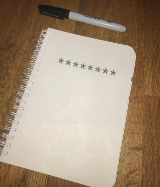 A customer review photo of the 5 x 7 size password journal.
