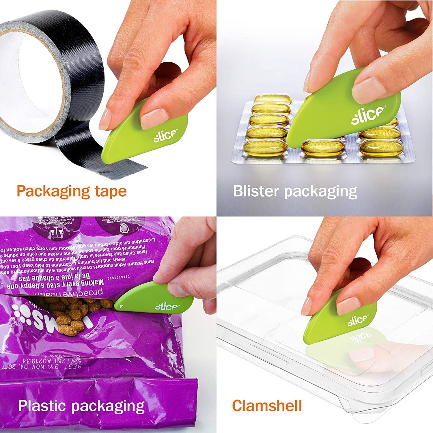 The cutting tool slicing through packaging tape, blister packaging, plastic bags, and clamshell