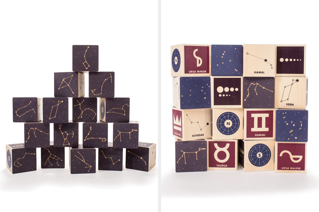 Side-by-side views of a set of wooden blocks that show different versions of constellations and their locations in the sky