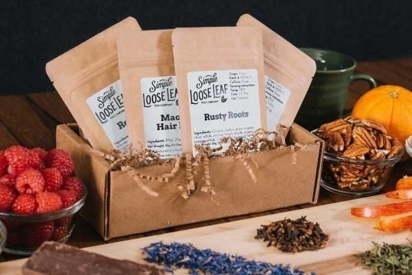 An assortment of bags of loose leaf tea