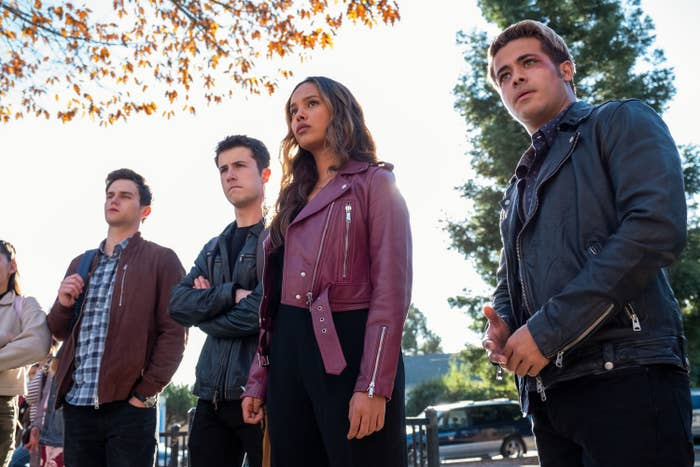 "Brandon Flynn, Dylan Minnette, Alisha Boe, and Christian Navarro as Justin, Clay, Jessica, and Tony in ""13 Reasons Why."""