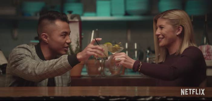 """One of the couples from """"Dating Around"""" holds up their drinks and says cheers probably."""