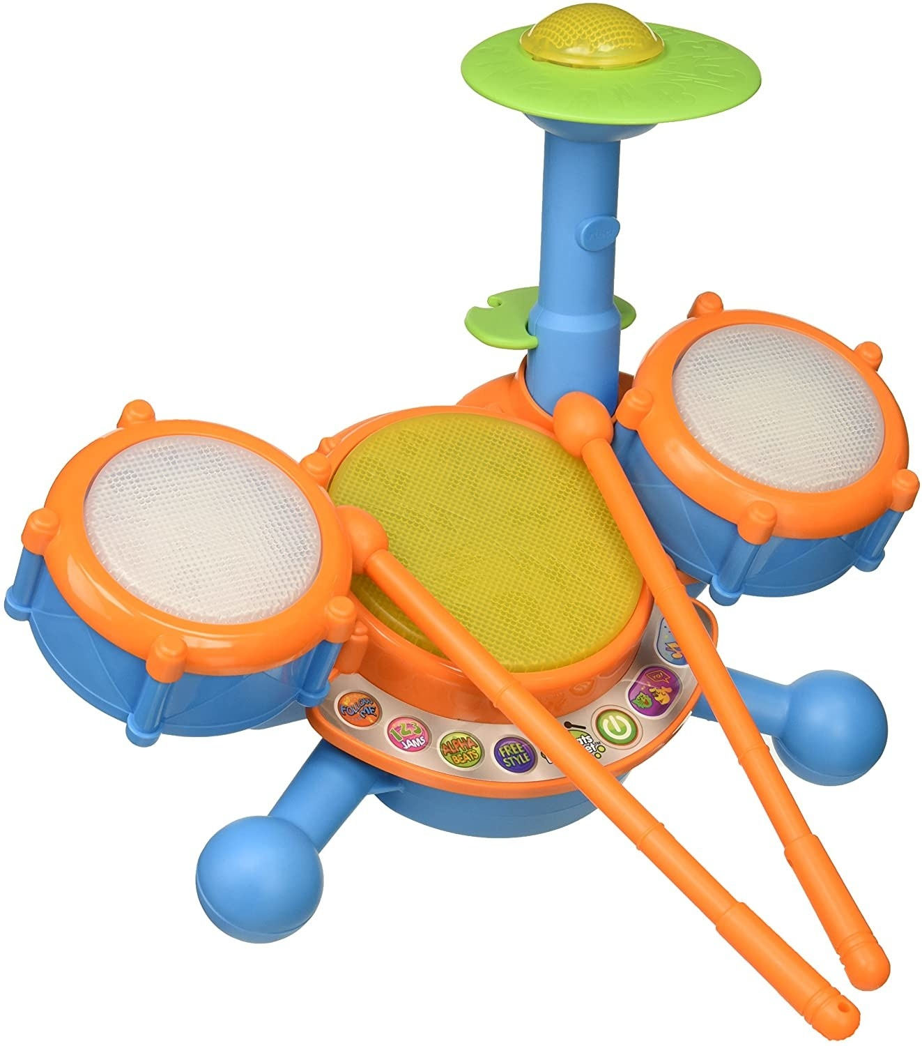 A blue and orange plastic electronic drum kit with drum sticks