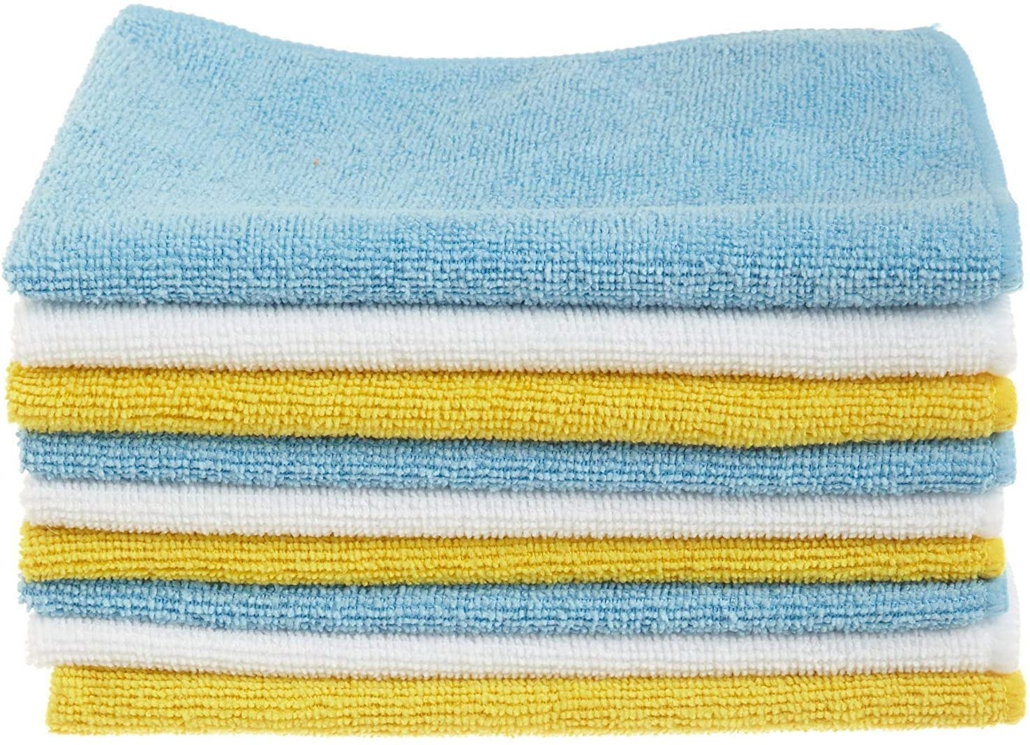 A stack of the yellow, blue, and white cloths