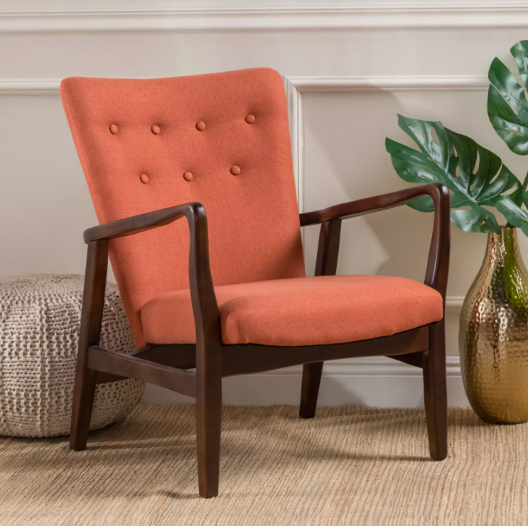Upholstered birchwood chair with salmon-color cushion