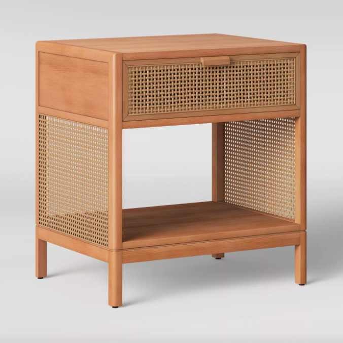 Cane accent table in light brown